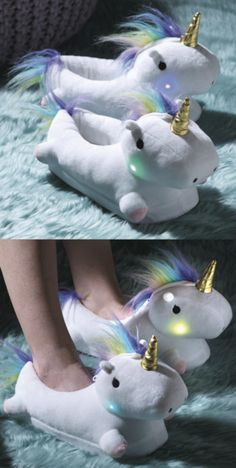 I'm asking for these Light Up Unicorn Slippers for Christmas this year!