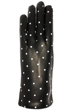 Solid Black Lamb skin Leather Gloves with White Polka dots,These gloves not only will keep your hands warm but they also look very stylish with your coat. SANTACANA. Glovers since 1896, they opened their first store in Madrid Calle Carretas, produce the best handmade leather gloves, in the same manner and with the same spirit more than one hundred years ago.   Leather Gloves Dots by Santacana Madrid. Accessories - Hats and Gloves Portland, Oregon