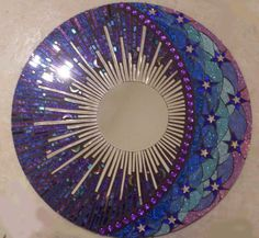 Blue and Purple Round Glitter Glass Mosaic Mirror -Celestial / Etsy/ spoiled rockin store , beautiful