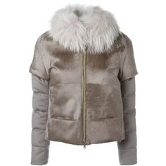 Herno Fur Panel Padded Jacket (11.855 RON) ❤ liked on Polyvore featuring outerwear, jackets, feather jacket, brown fur jacket, herno jacket, panel jacket and fur jacket