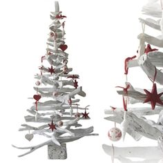 Whitewash 7ft Tree with red decorations. See full range of trees at http://www.dorisbrixham.co.uk/driftwood-trees.html