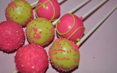 Lime green and hot pink cake pops by NOLAtreats on Etsy, $21.00