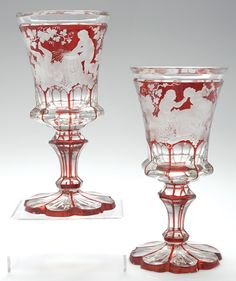 Bavarian Ruby Flashed Chalices--from an archaeology dig... but I would use them at a HalloweeN PARty!