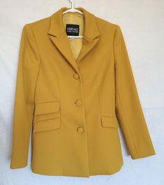 Womens Versace Jeans Couture Blazer Jacket Sz 26/40 Dark Yellow Made in Italy #VersaceJeansCouture #BlazerJacket