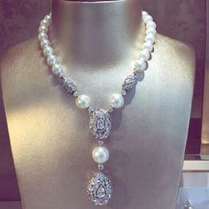 Mm_diamondsjewellers. Spectacular South Sea pearls and diamond necklace. For sophisticated ladies. Most expensive jewel. Astonishing.