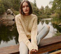 In hand knit cable, the DOEN Serena Crew Sweater recalls the best sweaters stolen from your grandpa's closet while being made for a woman. The boxy fit drapes to flatter the body while the thick chain