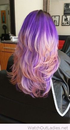 Purple pink ombre hair color inspire