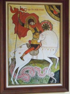 St George and the Dragon, russian style icon. Incomplete work