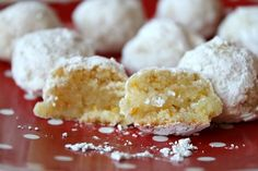 Orange Almond Snowball Cookies... These bake up crisp on the outside, but the inside is filled with a tender, moist texture sweetly flavored of almond and orange.