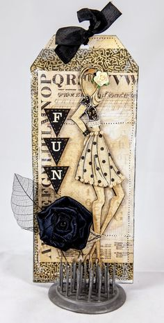 Creative Mayhem: Guest Designer for Green Tara using their Moulin Rouge Flower pack with Prima Doll 'Mia' and Graphics 45 'ABC Primer' Collection