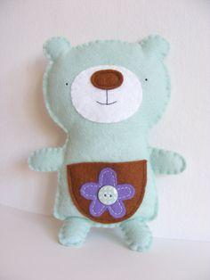 Cute felt bear with pocket. DIY tooth fairy plush, handmade felt softie, gift for kids