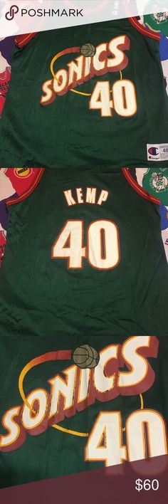 cde678aa Vintage Champion Seattle SuperSonics Kemp Jersey Vintage Champion Seattle  SuperSonics Kemp Jersey size 48 or adult