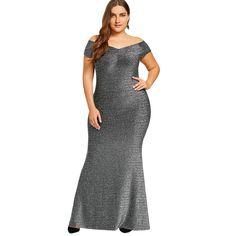 0b02a8e84060 Plus Size Dress women Off The Shoulder Maxi Party Dress Vintage short sleeve  Floor-Length dress big size Robe Femme