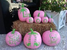 Pink & Green Halloween-Lily style! Paint pumpkins pink with green accents...