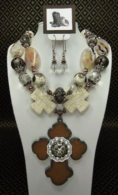 WHITE Chunky Statement Bold Western Style Cowgirl Bride Necklace with Rustic Cross -  CoWGiRL CouNTRy BRiDe on Etsy, $65.50