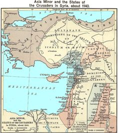 Map of Crusaders in Syria, c. 1140