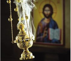 "Incense is an important part of Orthodox Christian worship. ""Let my prayer arise in Thy sight as incense. And let the lifting up of my hands be an evening sacrifice. Religion, Monastery Icons, Russian Orthodox, Orthodox Christianity, Orthodox Icons, Roman Catholic, Catholic Saints, Catholic Funeral, Catholic Churches"