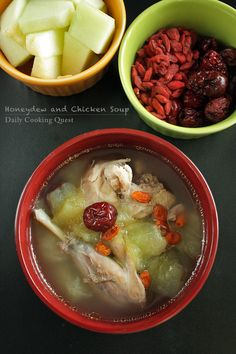 Chinese, especially Cantonese cuisine, uses a lot of fruits in savory dishes. It is no wonder then that we even make chicken soup with honeydew, surprise huh? Another fruit that is also commonly used Healthy Chicken Soup, Vegetarian Chicken, Chicken Soup Recipes, Chicken Soups, Healthy Soups, Recipe Chicken, Chinese Soup Recipes, Asian Recipes, Asian Foods