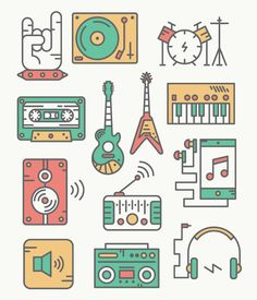 Rock on with this awesome set of music vectors! ⚡️ Best Picture For Music girl For Your Taste You are looking for something, and it is going to tell you exactly what you are looking for, and you didn' Line Design, Icon Design, Design Web, Flat Design, Liz Phair, Kevin Parker, Music Doodle, Beste Comics, Jenny Lewis