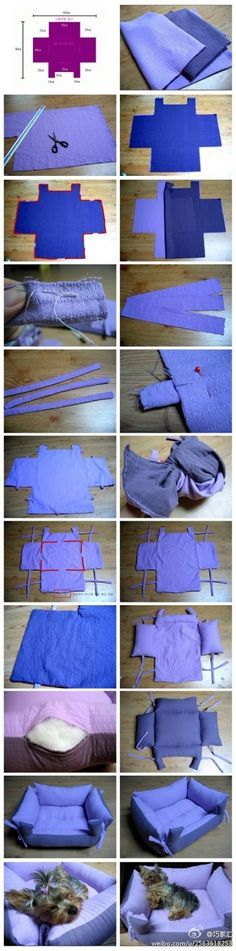 DIY Pet Bed purple diy crafts do it yourself diy projects crafty pet bed diy pet… - Katzen Diy Pet, Diy Dog Bed, Diy Décoration, Diy Crafts, Fun Diy, Pet Beds Diy, Doggie Beds, Easy Diy, Diy Projects To Try