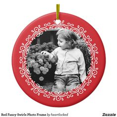 Red Fancy Swirls Photo Frame Double-Sided Ceramic Round Christmas Ornament