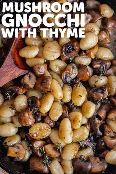 This mushroom gnocchi recipe has a rich buttery sauce flavoured with parmesan and thyme. It's a simple weeknight dinner with just a handful of ingredients. #thecookreport #mushroomgnocchi #gnocchirecipe #vegetarian Vegetarian Italian, Vegetarian Recipes Dinner, Gnocchi Recipes, Pasta Recipes, Side Dishes Easy, Side Dish Recipes, Skillet Recipes, Crockpot Recipes, Cheese Recipes