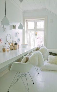 Modern white home office. Scandanavian modern.