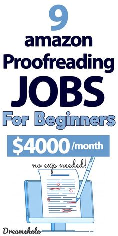 9 amazon proofreading jobs for beginners- $4000 per month. #amazonproofreadingjobs #amazon #amazonjobs #onlinejobs #proofreadingjobs #proofreading #freeproofreadingcourse #dreamshala #workfromhomejobs Work From Home Careers, Legit Work From Home, Online Work From Home, Work From Home Tips, Make Money From Home, Way To Make Money, Money Spinner, Amazon Jobs, Make Money From Pinterest