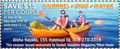 Maui Deals – Find Daily Deals and Coupons Here! Aloha Kayaks - Maui Deals - Find Daily Deals and Coupons Here! Hawaii Vacation, Kayaks, Snorkeling, Maui, Coupons, Daily Deals, Diving, Coupon, Kayaking