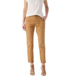 Pantalon chino en toile femme ocre - Promod Pantalon Moutarde Femme 66e6013c45a