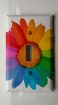Daisy Rainbow: Decorative Light Switch Cover - Single Toggle
