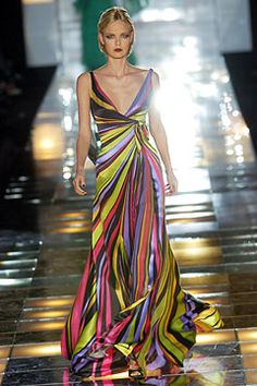 Kowabunga! Such color from Elie Saab on this striped maxi dress... Evening 4eec671f9118