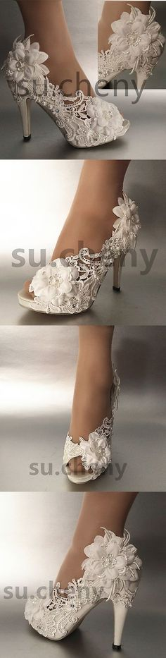 Wedding Shoes And Bridal Shoes: 3 / 4 Heel Pearl White Ivory Silk Lace Open Toe Wedding Shoes Size 5-9.5 -> BUY IT NOW ONLY: $49.99 on eBay!