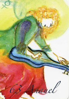 "(63) ANAUEL (Kabbalistic angel) 31 January-04 February, provides essence of: Perception of Oneness. (ángel Cabalístico) 31 enero-04 febrero, aporta esencia de: Percepción de la Unidad. Deck: ""Le Carte degli Angeli"" Artist: Oliwka Neugebauer Angel Drawing, My Guardian Angel, Names Of God, Tarot, Dio, Drawings, Painting, Unity, January"