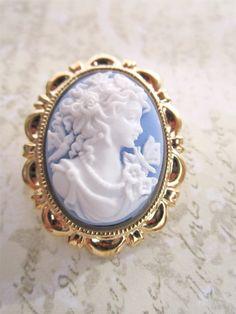 Vintage blue cameo pin for my bouquet