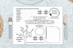 Kids Thanksgiving Placemat Printable Coloring Page | Etsy