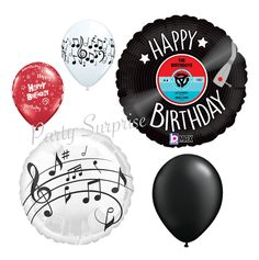 Music Record Happy Birthday Balloon Package Mylar and Latex Music Birthday Red White Black Balloons