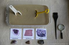 Rock and Mineral Excavation Sensory Tub (along with treasure hunts and Brazil activities) http://livingmontessorinow.com/2013/07/02/montessori-inspired-little-passports-activities-brazil/