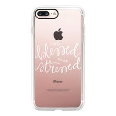 Too Blessed to be Stressed (White) - iPhone 7 Case, iPhone 7 Plus... ($40) ❤ liked on Polyvore featuring accessories, tech accessories, iphone case, white iphone case, apple iphone case, slim iphone case, iphone cover case and iphone cases