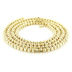 This 10K Yellow Gold Moon Cut Chain is 6 mm wide and  is secured with a lobster claw clasp. Featuring a luxurious bright polished finish for extra shine, this textured chain is available in 10K white, yellow and rose gold and in different chain lengths.