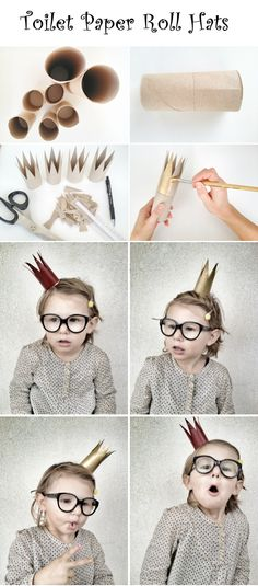 Toilet Paper Roll Hats | Crafts and DIY Community.  Cute for a kids birthday party!