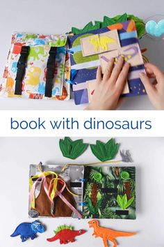 Dinosaur Books For Kids, Dinosaur Activities, Montessori Activities, Diy Busy Books, Diy Quiet Books, Kids Activity Books, Activities For Kids, Crafts For Kids, Girl Dinosaur Birthday