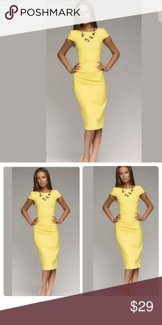 """Yellow Midi Glam Yellow Trendy Dress. Fabulous color! Absolutely gorgeous. Bust measurements are approximately """"36"""" inches . Material : Cotton Blend✨ Dresses Midi"""