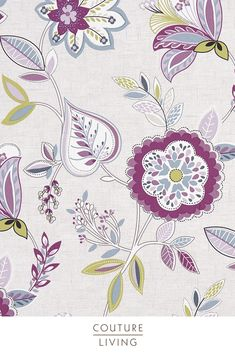 Octavia is a stunning collection from Clarke & Clarke, featuring bright flowers and plants to add a touch of summer to any home, seen here in Damson. Available as curtains or blinds, made to measure by Couture Living. Floral Curtains, Floral Fabric, Fabric Art, Fabric Blinds, Curtains With Blinds, Jacobean Embroidery, Purple Interior, Curtain Material, Textiles