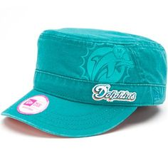 New Era Miami Dolphins Ladies Goal-To-Go Military Adjustable Hat - Aqua
