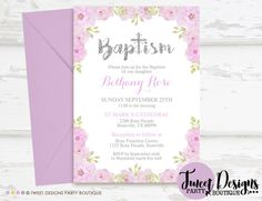 Purple Floral Christening Invitations, Baptism Invitation, Print yourself, Christening Printable, Baptism Printable, Naming Day Invitations