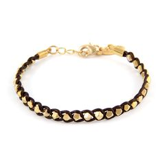 Braided Gold Faceted Beads on Tamba Leather Bracelet