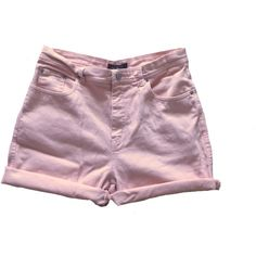 Peach Pit Jean Shorts ($16) ❤ liked on Polyvore featuring shorts, bottoms, denim shorts, highwaisted denim shorts, high rise shorts, jean shorts e high-waisted jean shorts