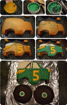 The step-by-step tutorial on how I made Will's monster truck birthday cake (and I've never baked a birthday cake on my own before - so this is proof it can be done)! @Crystal Steinbach