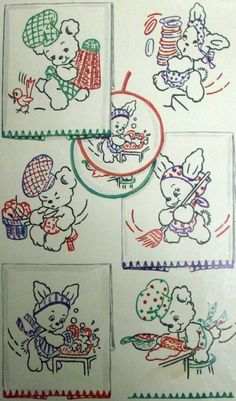 Vintage Embroidery Transfer repo 1620 Baby Bunnies Teddy Bears for Towels hotpad